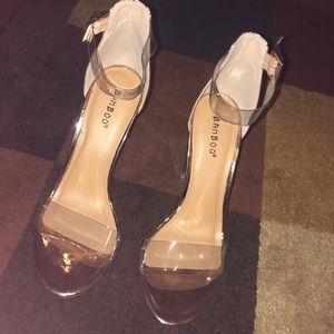 Rose Gold Glitter Clear Strap Heels -  FashionNova